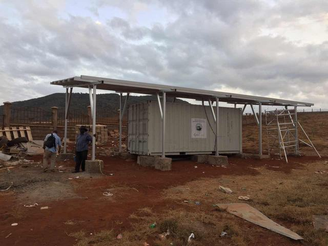 Carport solar mounting structure installed in Kenya